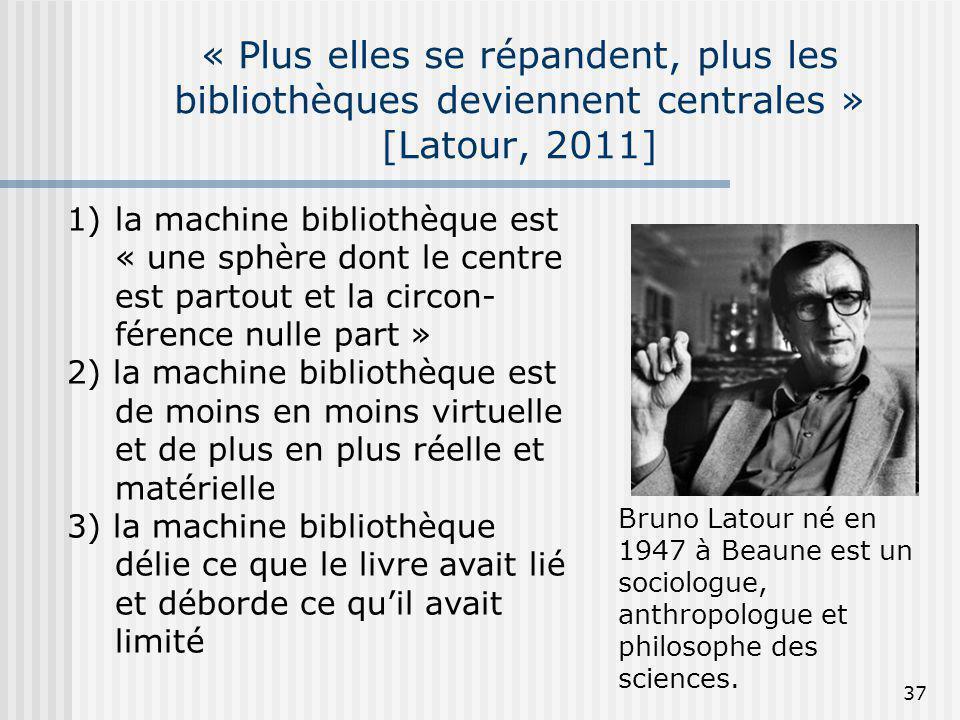 « Plus elles se répandent, plus les bibliothèques deviennent centrales » [Latour, 2011]